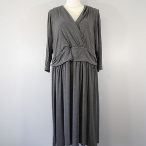 Modcloth Gray Ruched Waist Career Dress - 2X